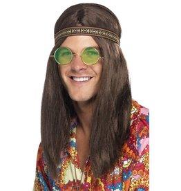 Hippie Kit, Haarband, bril met groene brillenglazen en ketting.