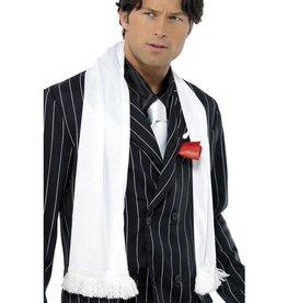 Jaren 1920 witte sjaal met kwastjes
