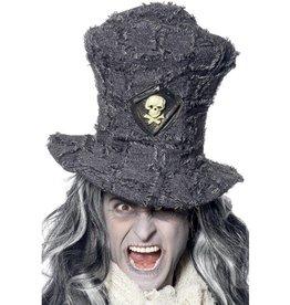 Doodgravers hoge hoed, grijs,  met schedel embleem.
