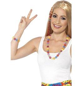 Hippie vredes teken, ban de bom, meerdere kleuren