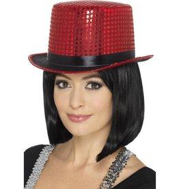 Sequin Hoge hoed, Rood, met flexibele band
