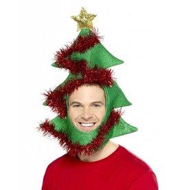 kerstmuts met kerstboom, slinger en glitters