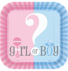 Gender Reveal Bordje, vierkant (8 stuks)