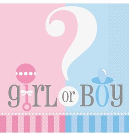 Gender Reveal Servetten (20 stuks)