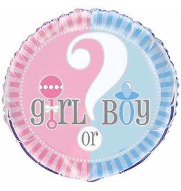 """18"""" Pkg Gender Reveal folie ballon"""