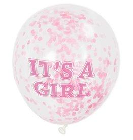 """6 Clear 12"""" Girl Ballonnen met roze"""