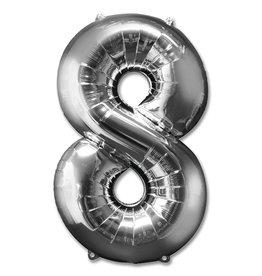 "Folie ballon ""8"", zilver 92cm"