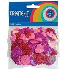 Foam hartjes glitter Create-it 132 stuks