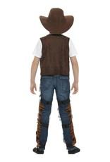 Texan Cowboy Outfit kind, Bruin, met hoed, riem en badge