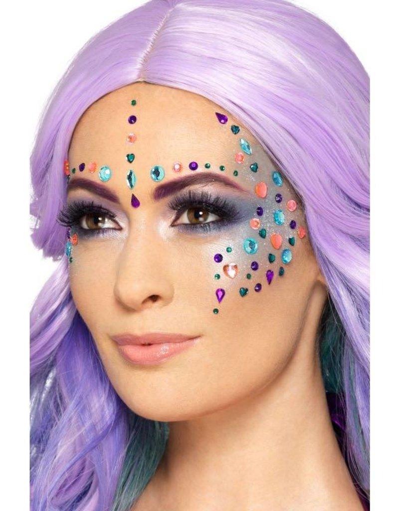 Smiffys Make-Up FX, Assorti kleuren gezichtsjuwelen, glimmers