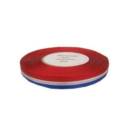 Medaille Lint Rood/Wit/Blauw 25 meter op rol 10 mm
