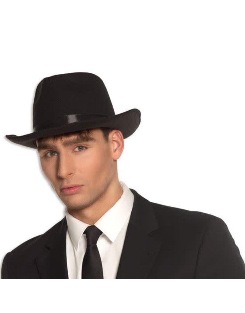 Blues Brothers hoed vilt luxe zwart