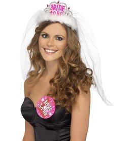 Bride to be Tiara met sluier, wit, met roze letters