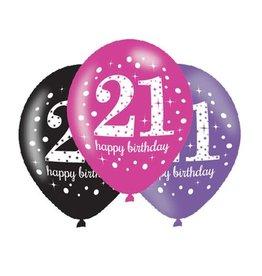 Ballonnen Sparkling Pink 21 jaar (28 cm, 6 stuks)