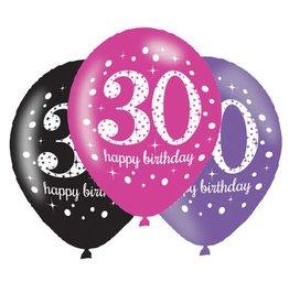 Ballonnen Sparkling Pink 30 jaar (28 cm, 6 stuks)