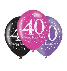 Ballonnen Sparkling Pink 40 jaar (28 cm, 6 stuks)