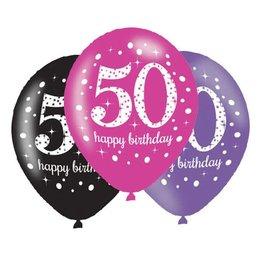 Ballonnen Sparkling Pink 50 jaar (28 cm, 6 stuks)