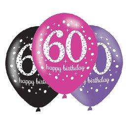 Ballonnen Sparkling Pink 60 jaar (28 cm, 6 stuks)
