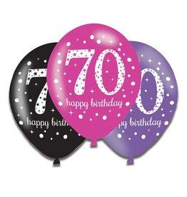 Ballonnen Sparkling Pink 70 jaar (28 cm, 6 stuks)