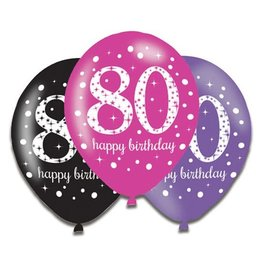 Ballonnen Sparkling Pink 80 jaar (28 cm, 6 stuks)