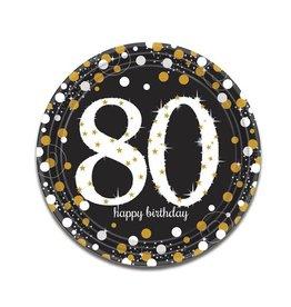 Bordjes Sparkling Gold 80 jaar (23 cm, 8 stuks)