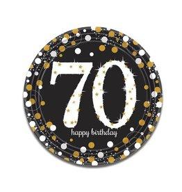 Bordjes Sparkling Gold 70 jaar (23 cm, 8 stuks)