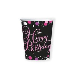 Bekertjes Sparkling Pink Happy Birthday (266 ml, 8 stuks)