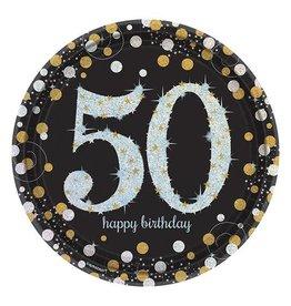 Bordjes Sparkling Gold 50 jaar (23 cm, 8 stuks)