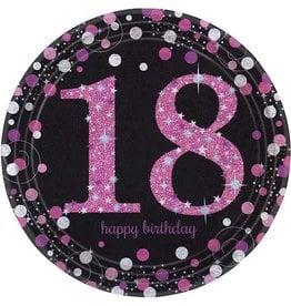 Bordjes Sparkling Pink 18 jaar (23 cm, 8 stuks)
