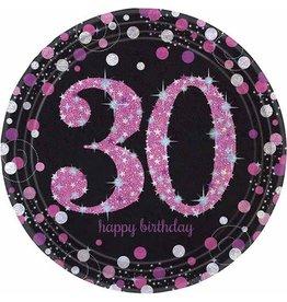 Bordjes Sparkling Pink 30 jaar (23 cm, 8 stuks)