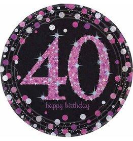 Bordjes Sparkling Pink 40 jaar (23 cm, 8 stuks)