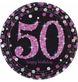 Bordjes Sparkling Pink 50 jaar (23 cm, 8 stuks)