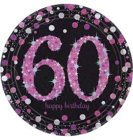 Bordjes Sparkling Pink 60 jaar (23 cm, 8 stuks)