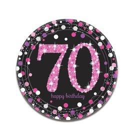 Bordjes Sparkling Pink 70 jaar (23 cm, 8 stuks)