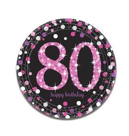 Bordjes Sparkling Pink 80 jaar (23 cm, 8 stuks)