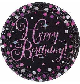 Bordjes Sparkling Pink Happy Birthday (23 cm, 8 stuks)