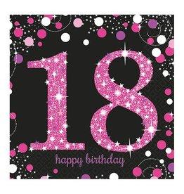 Servet Sparkling Pink 18  jaar (33 cm, 16 stuks)