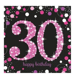 Servet Sparkling Pink 30  jaar (33 cm, 16 stuks