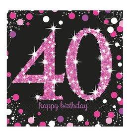 Servet Sparkling Pink 40  jaar (33 cm, 16 stuks)