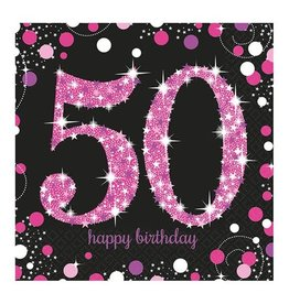 Servet Sparkling Pink 50  jaar (33 cm, 16 stuks)
