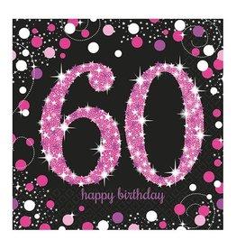 Servet Sparkling Pink 60 jaar (33 cm, 16 stuks)