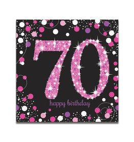Servet Sparkling Pink 70 jaar (33 cm, 16 stuks)