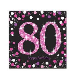 Servet Sparkling Pink 80 jaar (33 cm, 16 stuks)