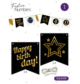 Festive Numbers Starter Kit - Happy Birthday (4 stuks + lijn)