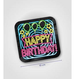 Onderzetter Neon - Happy birthday