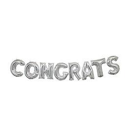 Folie Ballon Slinger Congrats, Zilver