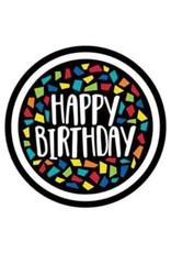 Kleurrijke Mosaïc Bordjes Happy Birthday (18 cm, 8 stuks)
