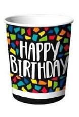 Kleurrijke Mosaïc Bekertjes Happy Birthday (25 cl, 8 stuks)