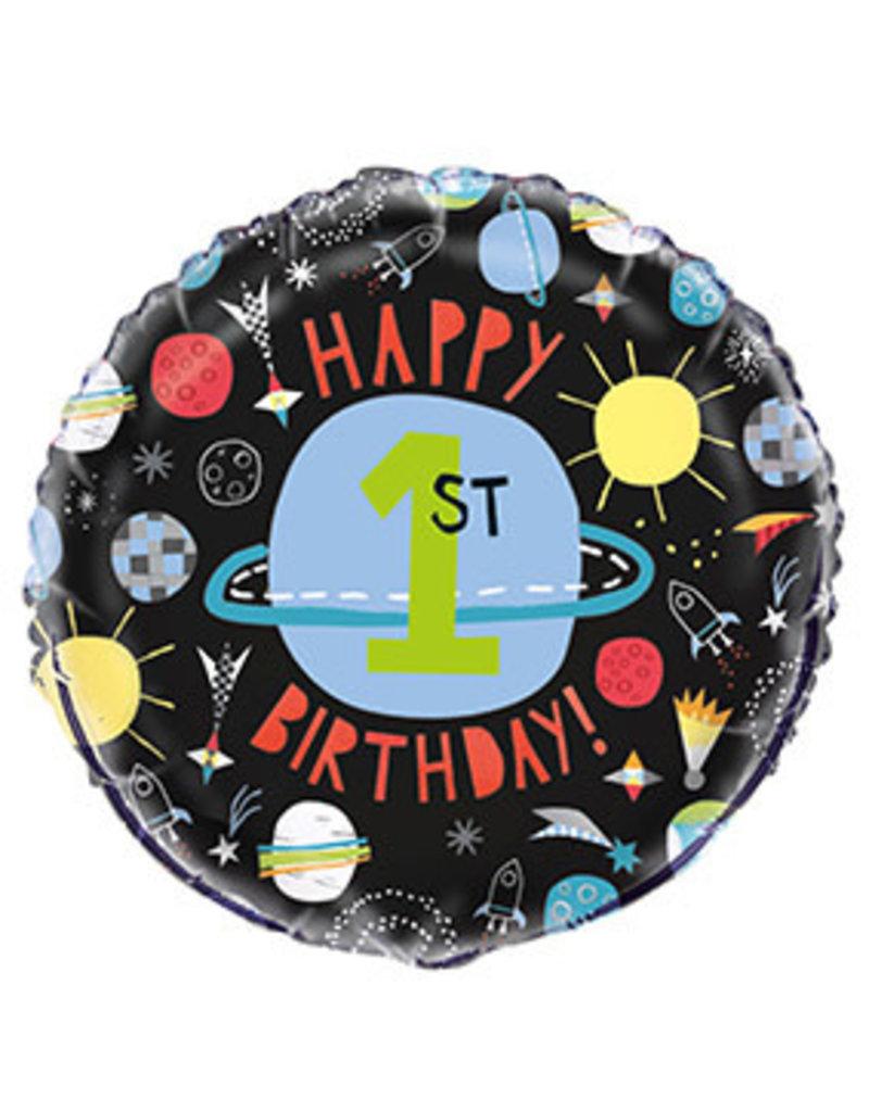 Folie Ballon Space, Eerste Verjaardag (45 cm)