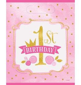 Uitdeelzakjes Pink/Goud 1ste Verjaardag